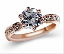 round cut rose gold Plated Austrian crystal fake engagement wedding tester ring