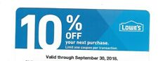 *Lowe's Home Improvement  Hardware Store 10% Off Coupon, good through Sept 30th*
