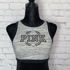 New listing Victorias Secret PINK Crop Haut Court Sports Bra M (A-C)  Black Grey  Spell Out