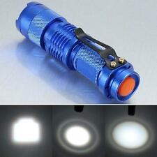 7W 1200lm CREE Q5 LED Mini Zoomable Flashlight 14500/AA Torch Lamp Light Blue UP