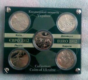 Ukraine, 5 hryvnia Set Nickel Coins EURO 2012 football championship UNC RARE!