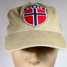 Norge baseball cap beige shield patch Norwegian flag unisex size S/M USA elastic
