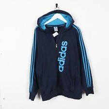 Vintage ADIDAS Big Logo Zip Up Hoodie Sweatshirt Navy Blue Medium M