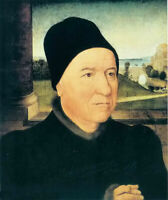 Oil painting hans memling - portrait of an old man in landscape free shipping