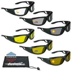 Day Night Transitional Motorcycle Sunglasses Biker Goggle Foam Padded Unisex