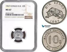 AC143-R, Congo Democratic Republic, 10 Sengi 1967, NGC MS67, Pop 1/0