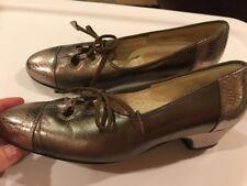 Johansen Vintage 60s Pewter Metallic 36 Aa Captoe Lace Up Leather Pump Shoe Vguc