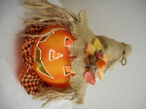 Fiber optic pumpkin with burlap hat