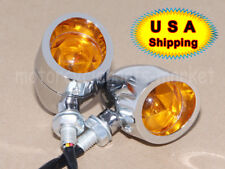 Chrome Motorcycle Bullet Amber Blinker Turn Signal+Brake Stop+Running Tail Light