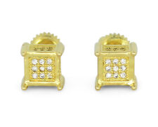 Mens Womens Cubed 6mm Studs 14k Gold Plated Cz Bling Screw Back Hip Hop Earrings