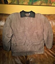 Roundtree & Yorke Brown Suede Leather Jacket-Removable Thinsulate Vest Liner- XL