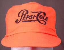 Vintage Pepsi Cola Hat-Neon Orange-Embroidered Logo-Trucker Hipster Funky Bright