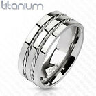 Titanium Men's 8 MM Double Rope Inlay Comfort Fit Wedding Band Ring Size 8-13