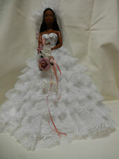 Barbie Doll Clothes - Lovely Bridal Gown,,shoes,veil,jewellery Bouquet.