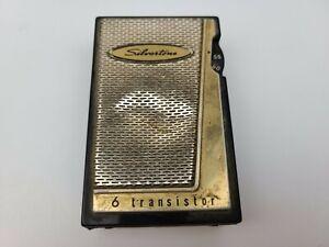 Vintage Silvertone Black & Gold 6 Transistor Radio (BROKEN)