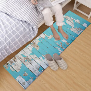 Rustic Blue Painted Old Wood Planks Texture Area Rugs Door Living Room Floor Mat