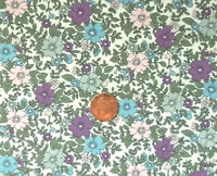 CREAM  WITH LILAC, BLUE & PINK FLOWERS & GREEN FOLIAGE - 100% COTTON FABRIC FQ