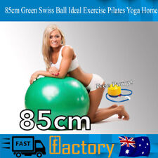Swiss Ball Ideal All Exercise Pilates Yoga Home Foot Pump Included  85cm Green