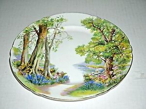 Shelley Woodland Bone China gold trim salad plate Scalloped Rim