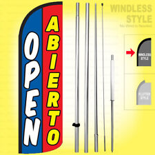 Open Abierto - Windless Swooper Flag Kit 15' Feather Banner Sign bq-h