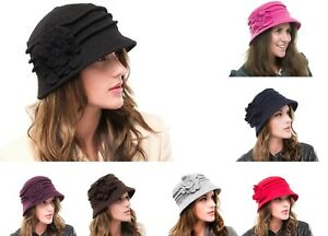 Ladies Outdoor Knitted Wool Casual Walking Packable Church Cloche Hat