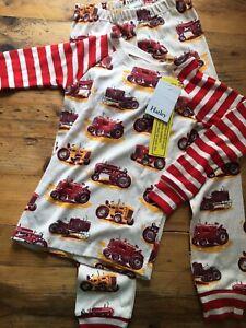 BNWT Hatley Age 6 Tractor Pyjamas Set RRP£28 Organic Cotton Long Sleeved Red