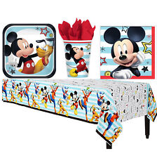 Mickey Mouse Tableware Birthday Party Supplies Plates Napkins Cups Table Cover
