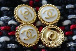 4 Stamped  Chanel Buttons LOGO  CC white 0,7 inch 16 mm gold cc 4 pcs
