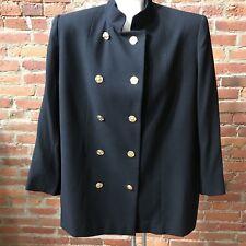 Ilie Wacs Women's Blazer Black Textured Wool Double Breasted Nehru Collar 16