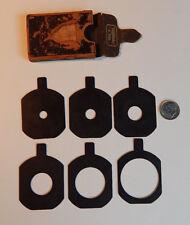 Antique Voigtlander & Sohn Camera Lens Brass Aperture Holes Set Of 6 Leather Box
