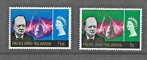 FALKLAND ISLANDS 1966 - WINSTON CHURCHILL Commemoratives  SG 223 & 224 - Mint MH