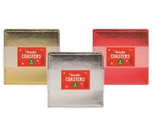 Pack of 4 Metallic Coasters Christmas 3 Colours Kitchen Dining Coffee Table Xmas