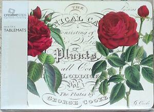 Tablemats Set Of 6 Cork Backed -  Botanic Rose