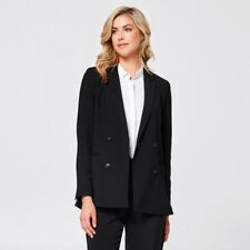 Double-Breasted Fully lined Front Mock pocket Blazer-Black Size 16 RRP$49