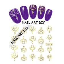 Nail Art Water Transfer Stickers-Decals-Adesivi Unghie-colore d'ORO Metallico