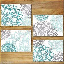Teal Aqua/Turquoise Gray Wall Art Prints Decor Peony Flower Floral Home Dahlia