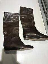 Loeffler Randall Brown Tall Boots With Small Wedge, Size 6 1/2