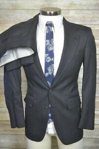 Vintage Adams Row Mens Gray Wool Pleated 2Pc Suit 34S Jacket 27/29 Pant
