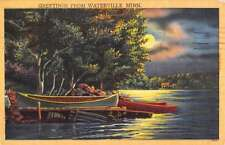 Waterville Minnesota Row Boat Waterfront At Night Antique Postcard K64817