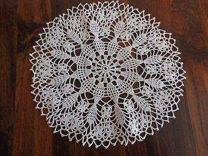 """Handmade Crocheted Doily 14"""" WHITE Flower Wheel Fan ROUND"""