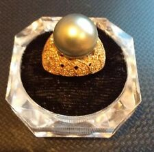 Women's 14K Gold Natural Pearl Ring With Diamond Accents