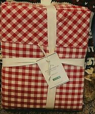 Pottery Barn Gingham Check organic KING sheet set RED