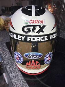 """NHRA ASHLEY FORCE COFFEE MAKER HELMET COOL""""RARE"""" NEW W/AUTOGRAPH MAKES 8 CUPS"""