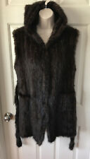 100% Genuine Mink Vest Real Fur With Hood Brown. Size L Handmade. NWT