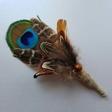 Men's Feather wedding Button Hole,peacock feather,with brown textured feathers.
