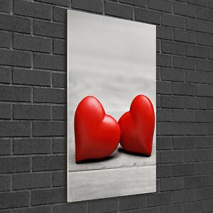 Tulup Acrylic Glass Print Wall Art Image 50x100cm - Hearts on the wood