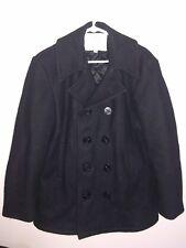 US Navy Vintage Wool Overcoat Pea Coat Peacoat Mens Coat 40 Black Military USA