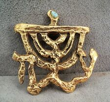 "MCM Sculptor JACQUES LIPCHITZ Menorah BROOCH Turquoise BRUTALIST 2""x2"" Judaica"