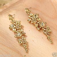 New Woman Statement clear crystal Rhinestone long Ear Studs hoop earrings 1029