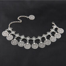 Antique Silver Coin Squirrels Anklet Lads Fashion Style Jewelry Ankle Bracelet